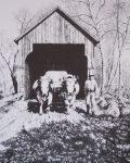 Oxen and Covered Bridge Pen & Ink Print