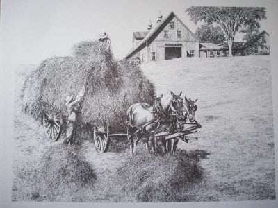 Haying Pen & Ink Print