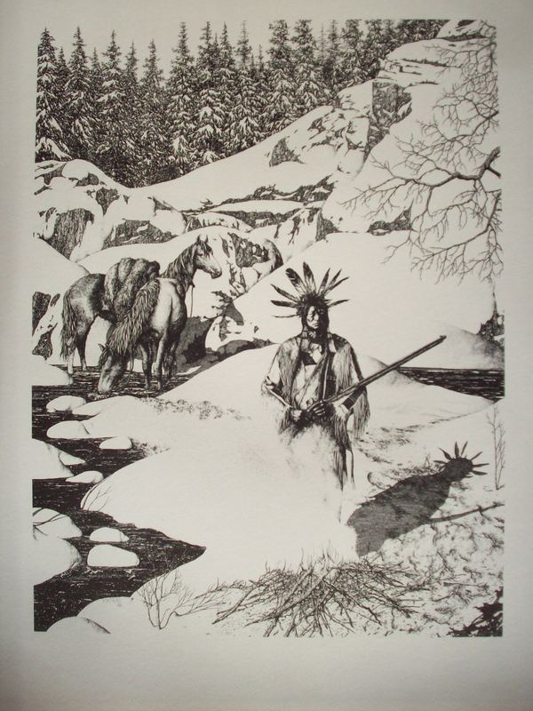 Indian and Fire Pen & Ink Print