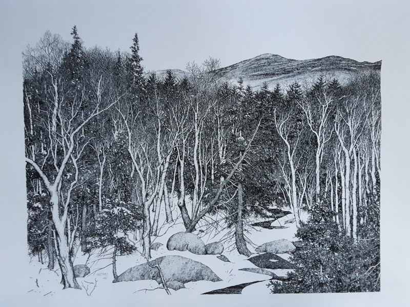 New Hampshire Hills Pen&Ink Print