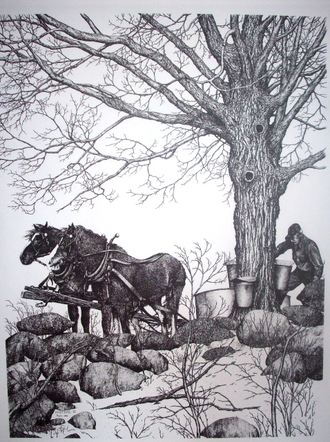 Horses Sapping Pen & Ink Print